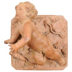French 1810s Empire High Relief Terracotta Cupid Model with Bow and Quiver