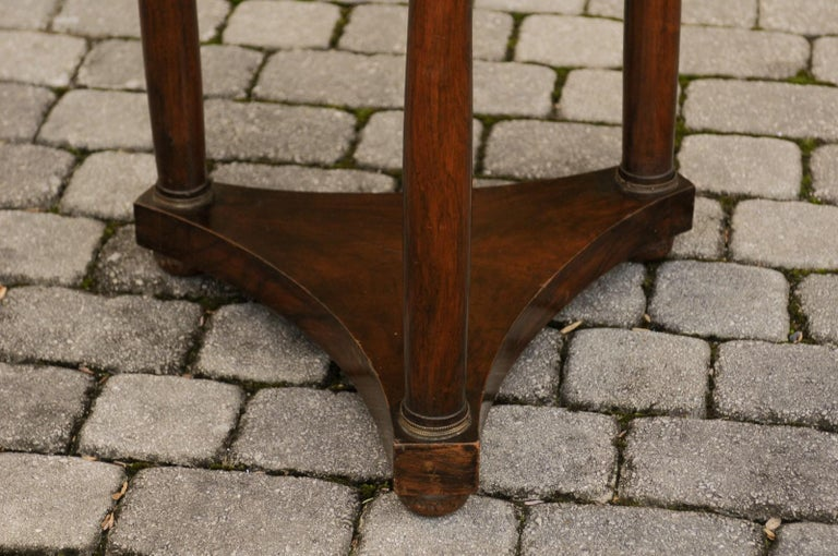 19th Century French 1810s Empire Period Walnut Guéridon Table with Bronze Mounts and Shelf For Sale