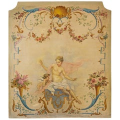 French 1810s Oil on Canvas Mythological Painted Panel Depicting Venus and Cupid