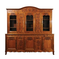 French 1820s Carved Walnut Vitrine with Glass Doors, Hidden Panels and Drawers