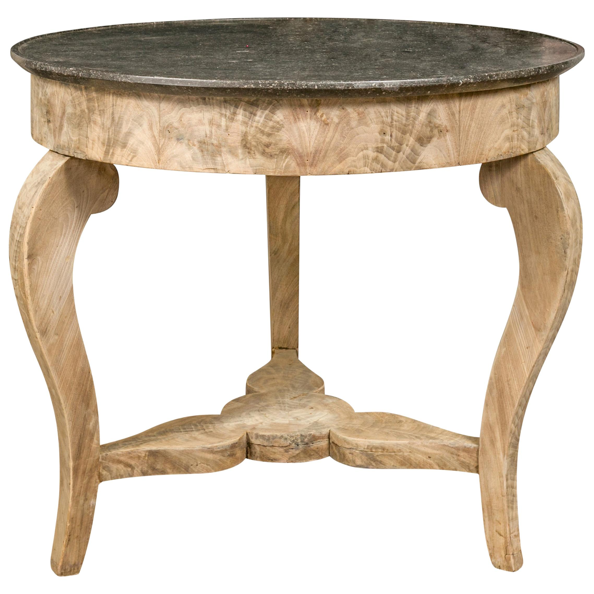 French 1820s Restauration Period Bleached Walnut Center Table with Marble Top