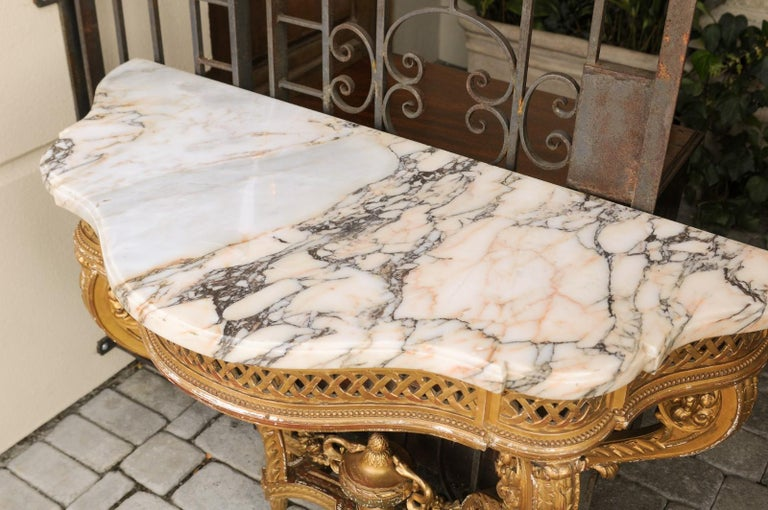 French 1820s Restauration Period Carved Giltwood Console Table with Marble Top 8