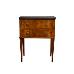 French 1820s Restauration Period Walnut Bedside Table with Black Marble Top