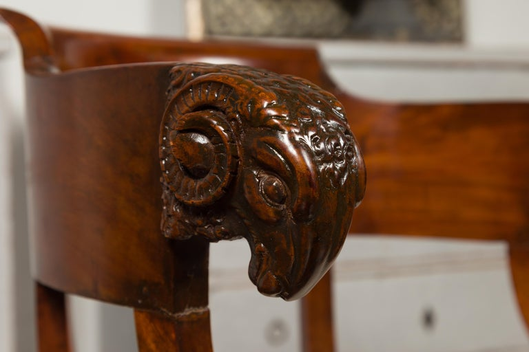 French 1830s Restauration Period Mahogany Armchair with Carved Rams' Heads For Sale 9
