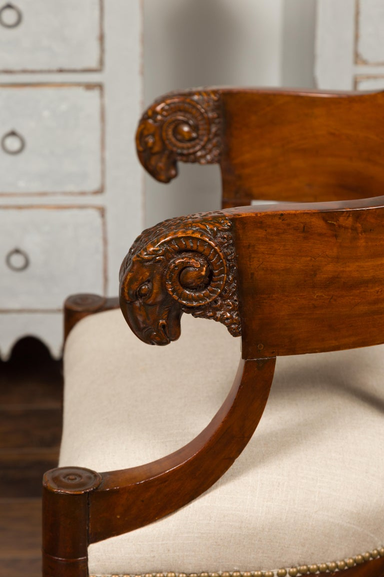 French 1830s Restauration Period Mahogany Armchair with Carved Rams' Heads For Sale 10