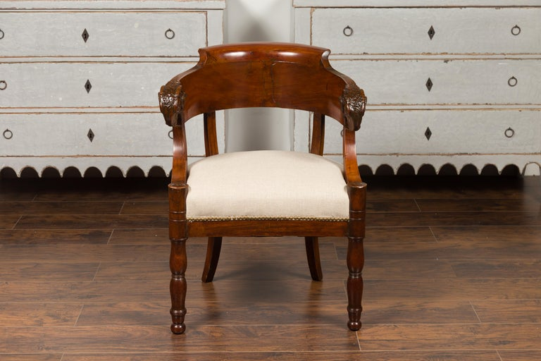 French 1830s Restauration Period Mahogany Armchair with Carved Rams' Heads For Sale 11