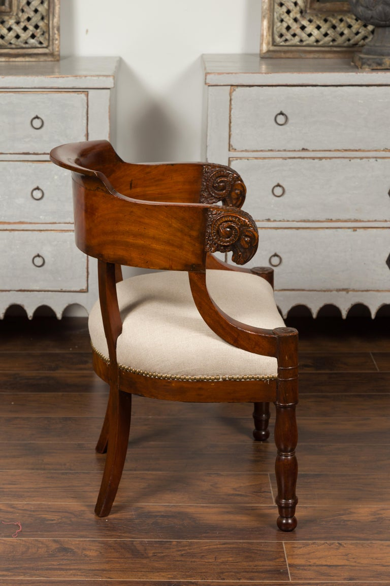 Upholstery French 1830s Restauration Period Mahogany Armchair with Carved Rams' Heads For Sale