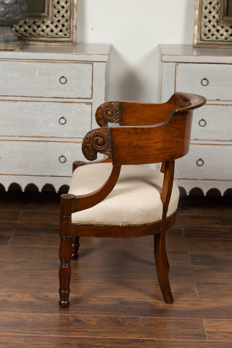 French 1830s Restauration Period Mahogany Armchair with Carved Rams' Heads For Sale 2