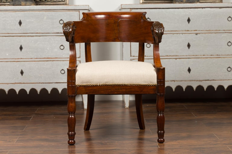 French 1830s Restauration Period Mahogany Armchair with Carved Rams' Heads For Sale 3