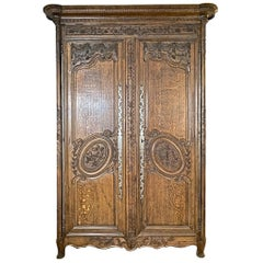 French 1837 Normandy Hand Carved Merrian Oak Armoire