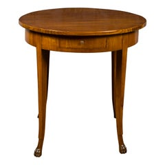 French 1840s Louis-Philippe Walnut Table with Single Drawer and Paw Feet