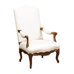 French 1840s Louis XV Style Walnut Fauteuil with Carved Accents and Upholstery