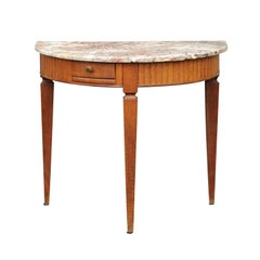 French 1840s Oak Demilune Table with Marble Top, Tapered Legs and Drawer