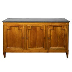French 1840s Walnut Enfilade with Black Marble Top and Silverware Drawers