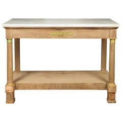 French 1850s Empire Style Bleached Wood Console Table with White Marble Top