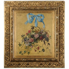 French 1850s Framed Oil on Canvas Still-Life Floral Painting by Clara Schlott