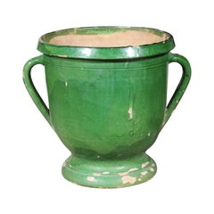 French 1850s Green Glazed Pottery Jardinière with Lateral Handles