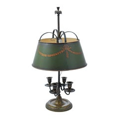 French 1850s Napoléon III Green Painted Tôle Table Lamp with Garland Motifs