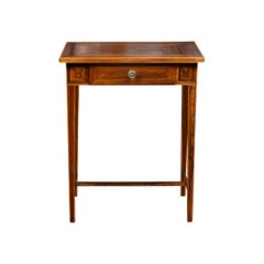French 1850s Napoleon III Walnut Side Table with Geometric Inlay and Drawer