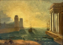 Antique French Oil Classical Trading Port Ancient Roman Architecture & Ships