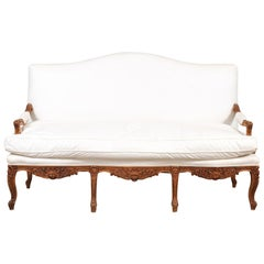 French 1850s Régence Style Three-Seat Canapé with Carved Shells and Upholstery