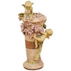 French 1860s Napoléon III Painted Terracotta Vase with Playful Cherubs and Roses