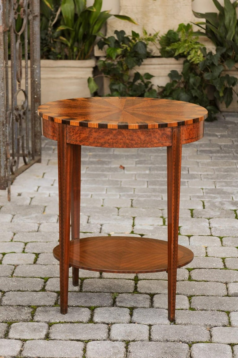 French Oval Walnut Side Table with Inlaid Radiating Motifs and Lower Shelf 1860s 10
