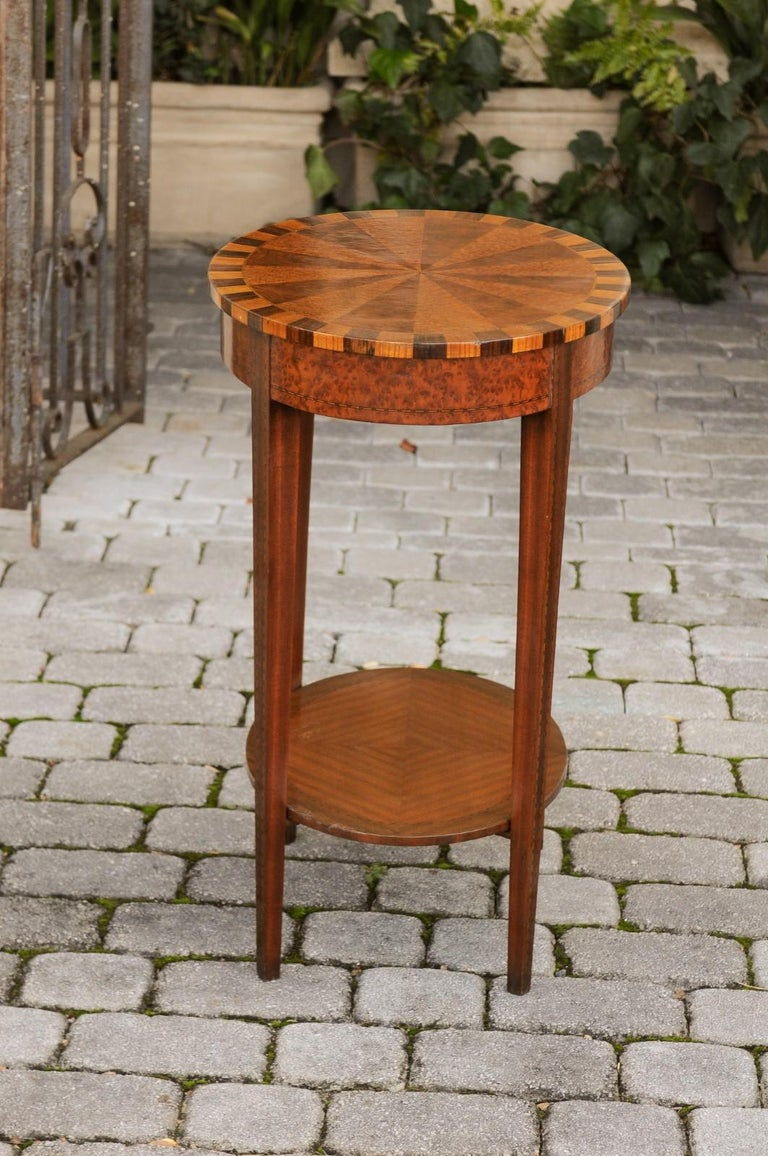 French Oval Walnut Side Table with Inlaid Radiating Motifs and Lower Shelf 1860s 11