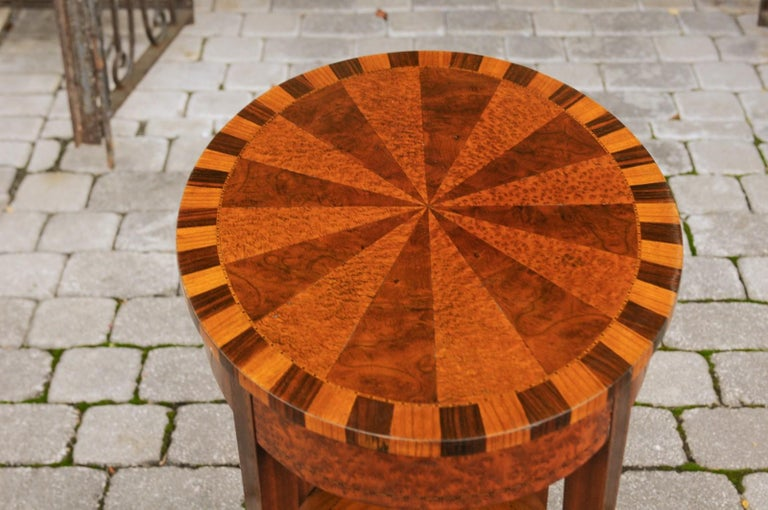 French Oval Walnut Side Table with Inlaid Radiating Motifs and Lower Shelf 1860s 12