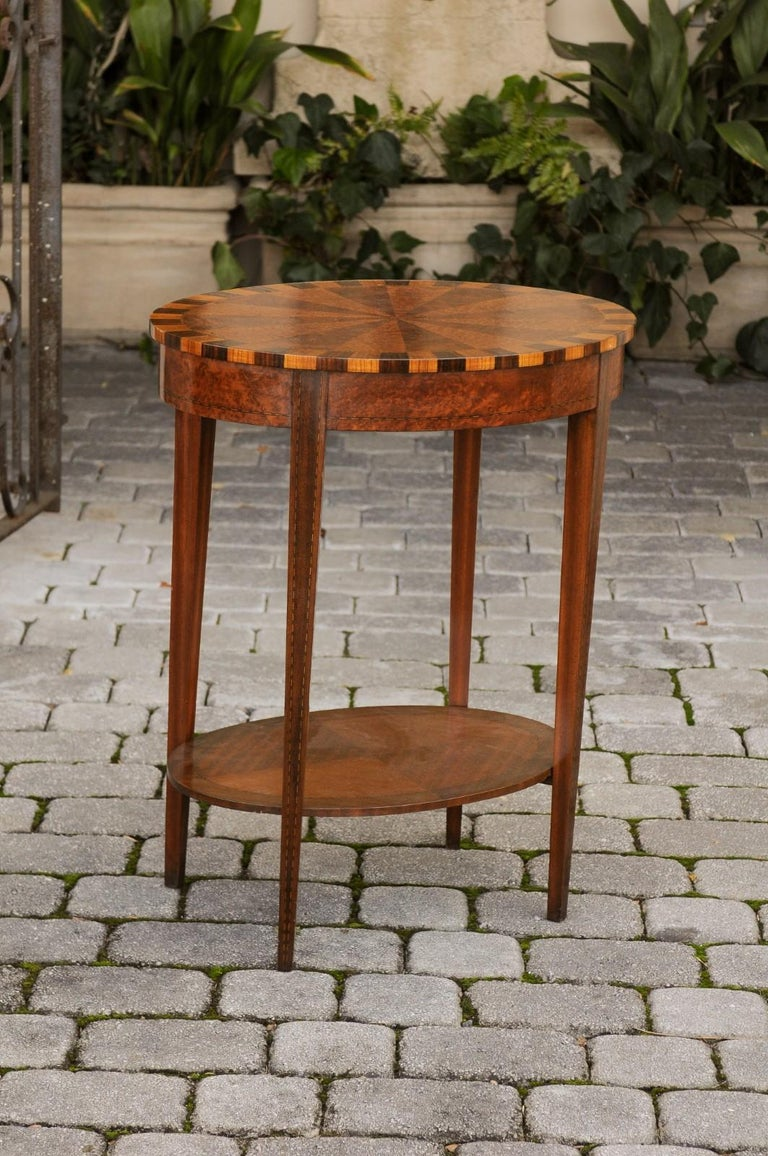 French Oval Walnut Side Table with Inlaid Radiating Motifs and Lower Shelf 1860s 2