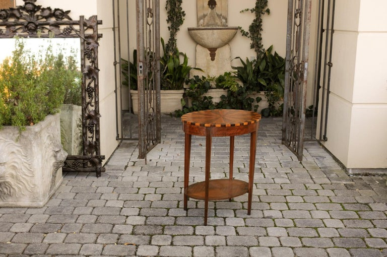 French Oval Walnut Side Table with Inlaid Radiating Motifs and Lower Shelf 1860s 3