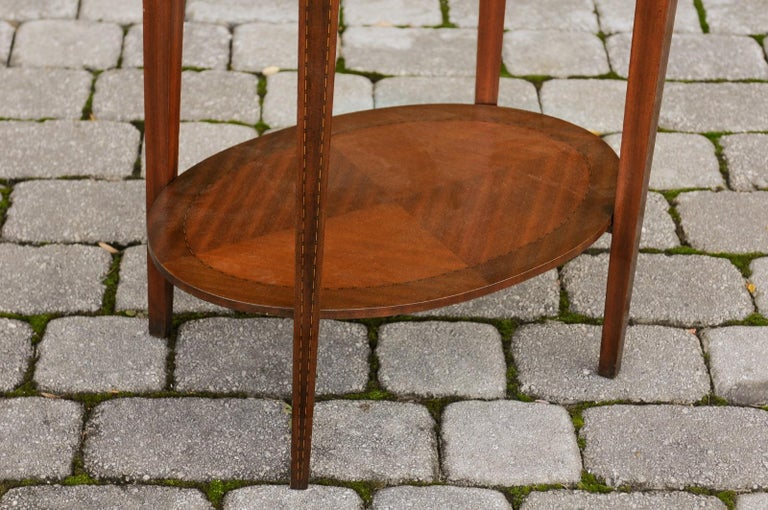French Oval Walnut Side Table with Inlaid Radiating Motifs and Lower Shelf 1860s 4