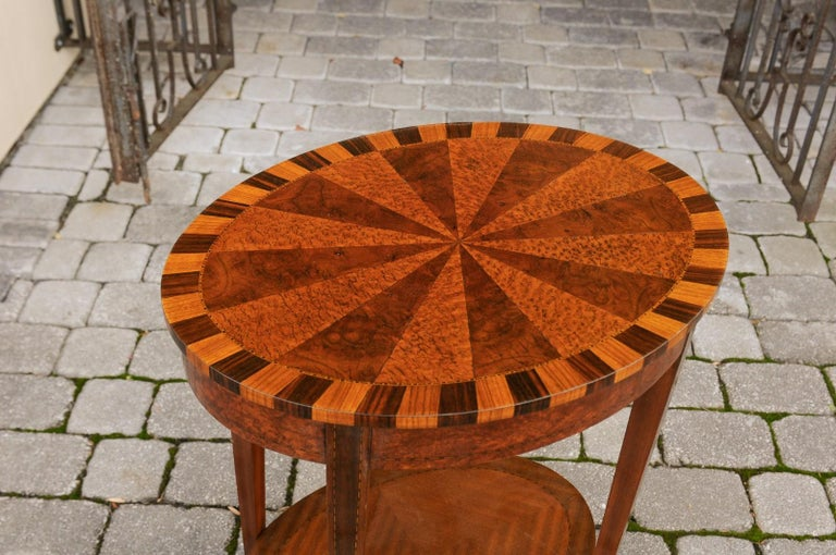 French Oval Walnut Side Table with Inlaid Radiating Motifs and Lower Shelf 1860s 5