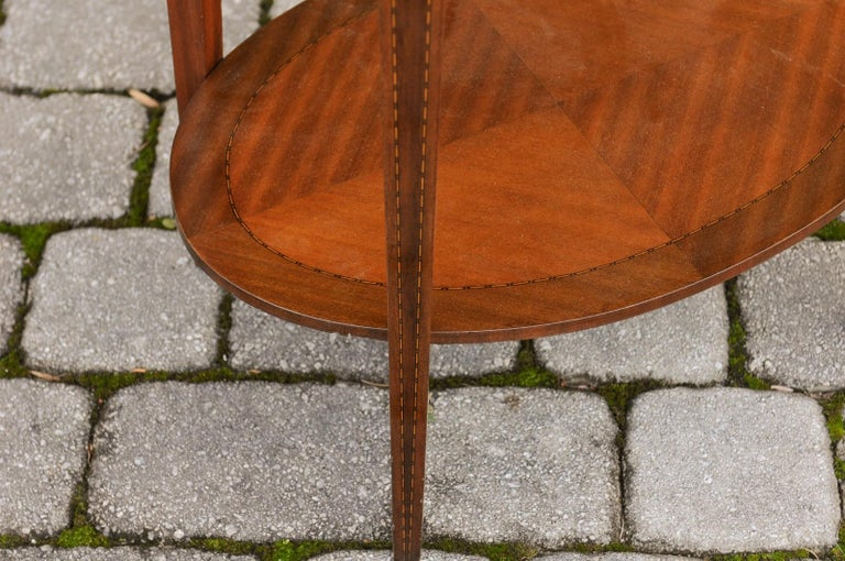 French Oval Walnut Side Table with Inlaid Radiating Motifs and Lower Shelf 1860s 7