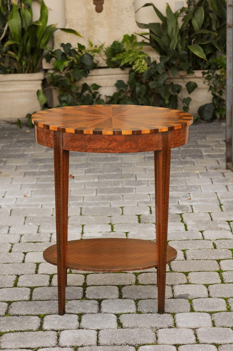 French Oval Walnut Side Table with Inlaid Radiating Motifs and Lower Shelf 1860s 8