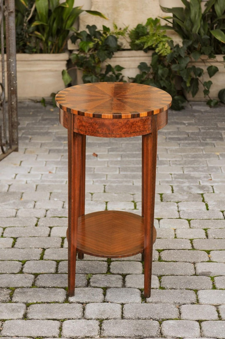 French Oval Walnut Side Table with Inlaid Radiating Motifs and Lower Shelf 1860s 9