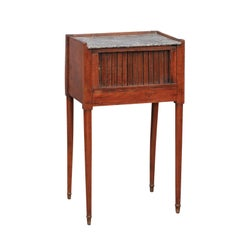 French 1860s Walnut Side Table with Tambour Door, Marble Top and Tapered Legs