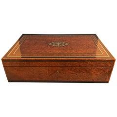 French 1870 Burr Cedar Large Jewellery Trunk
