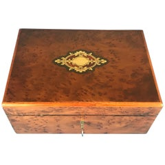 French 1870 Burr Cedar Tulip Wood Cross Banded Box