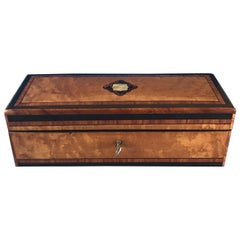 French 1870 Burr maple Tulipwood cross banded ebony inlaid glove box
