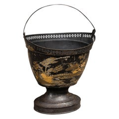 French 1870s Black Painted Tôle Bucket with Gold Chinoiserie Décor and Handle