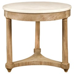 French 1870s Empire Style Bleached Walnut Center Table with Round Marble Top
