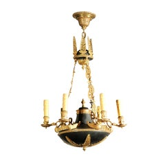 French 1870s Empire Style Bronze and Metal Six-Light Chandelier with Palmettes