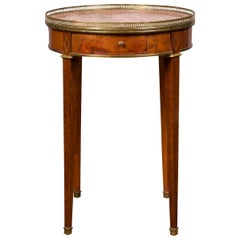 French 1870s Empire Style Round Table with Marble Top, Brass Gallery and Drawer