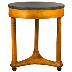 French 1870s Empire Style Side Table with Circular Stone Top and Column Legs