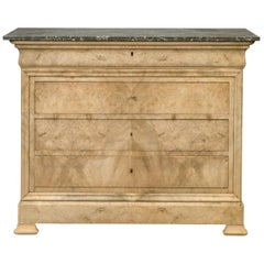 French 1870s Louis-Philippe Style Bleached Burl and Grey Marble-Top Commode