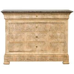 French 1870s Louis-Philippe Style Bleached Burl Veneer Commode with Marble Top