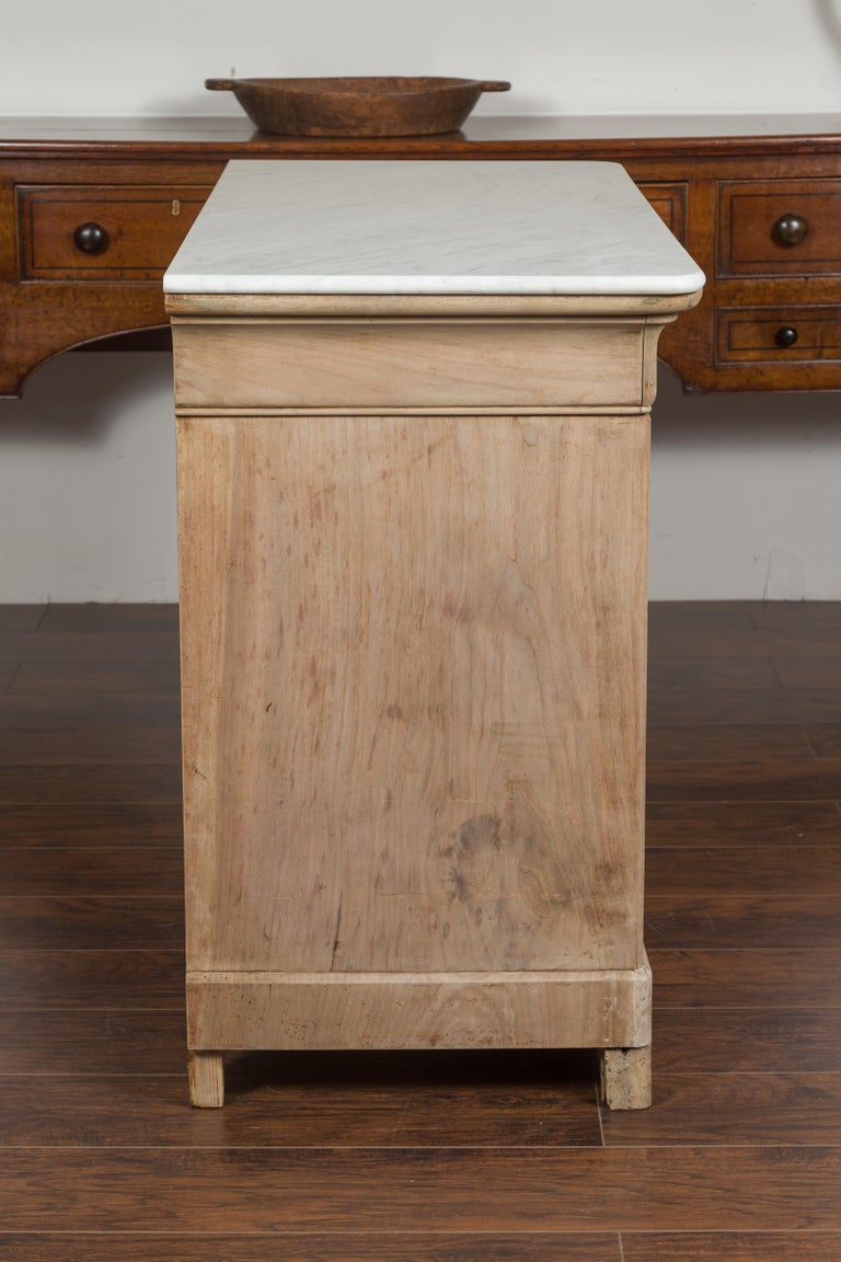 French 1870s Louis-Philippe Style Bleached Commode with White Marble Top 8
