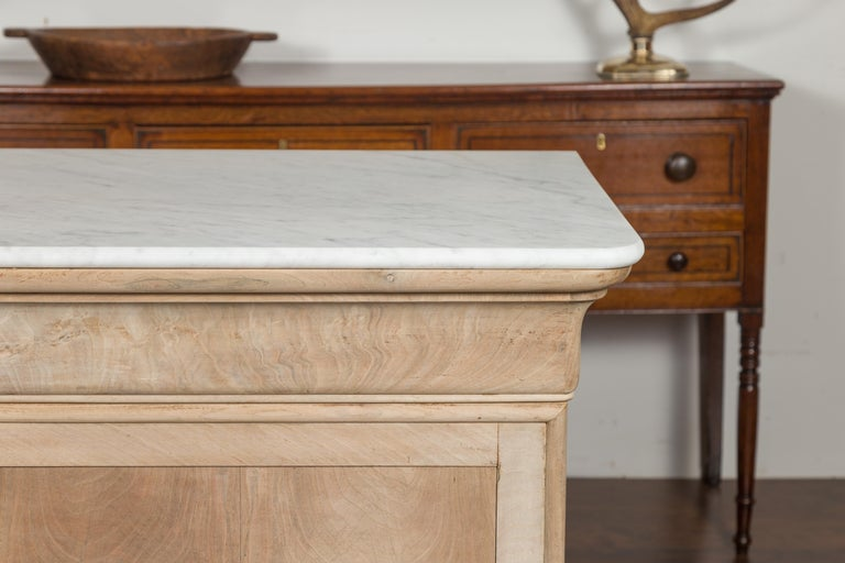 French 1870s Louis-Philippe Style Bleached Commode with White Marble Top In Good Condition In Atlanta, GA