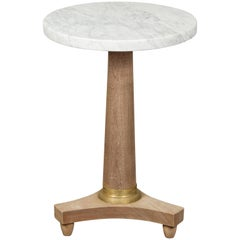 French 1870s Napoléon III Bleached Walnut Drinks Table with White Marble Top